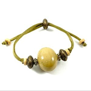 Jewelry - Army green suede cord adjustable bracelet wood (L)